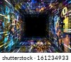Number Tunnel series. Composition of colorful numbers and fractal elements in perspective on the subject of computers, mathematics, science and education - stock photo