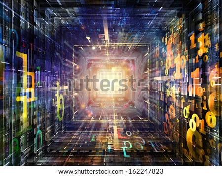 Number Tunnel series. Composition of CPU chip, colorful numbers and fractal elements in perspective on the subject of computers, mathematics, science and education - stock photo