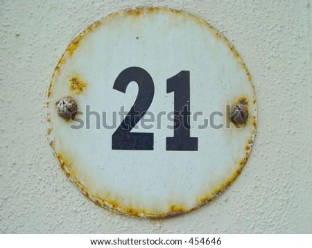 Number Twenty-one - stock photo