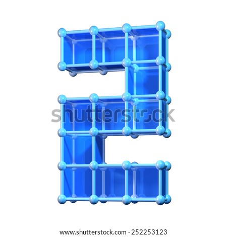 Number two, 2. 3D molecular structure. Numerals isolated on white background. - stock photo