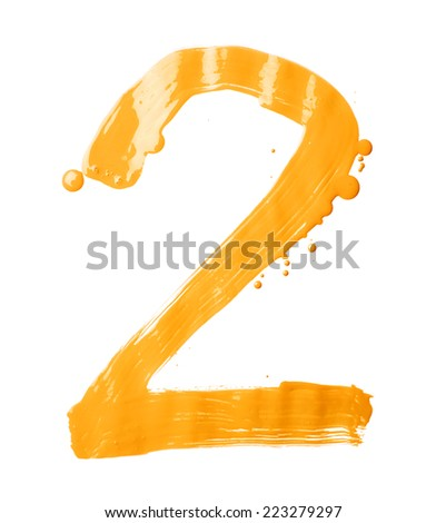 Number two digit character hand drawn with the oil paint brush strokes isolated over the white background - stock photo