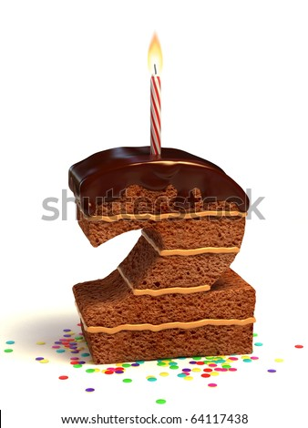 number two shaped chocolate birthday cake with lit candle and confetti - stock photo