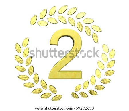 number two with laurel wreath - stock photo