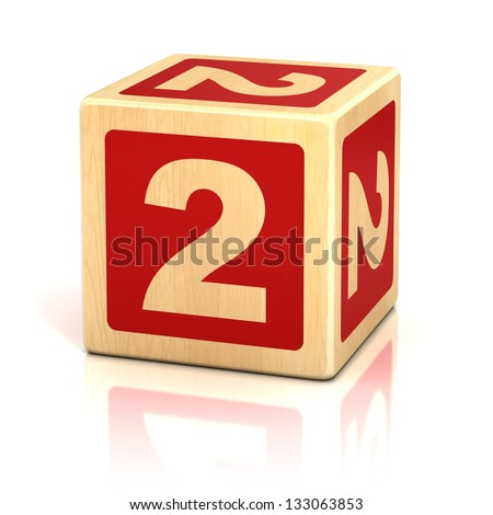 number two 2 wooden blocks font - stock photo