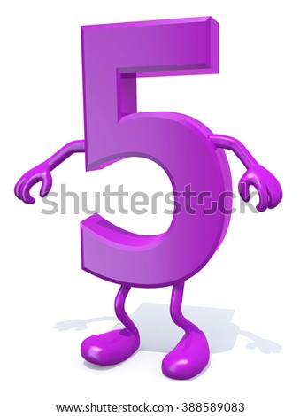 number 5 with arms and legs posing, isolated on white 3d illustration - stock photo