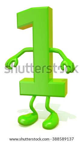 number 1 with arms and legs posing, isolated on white 3d illustration - stock photo