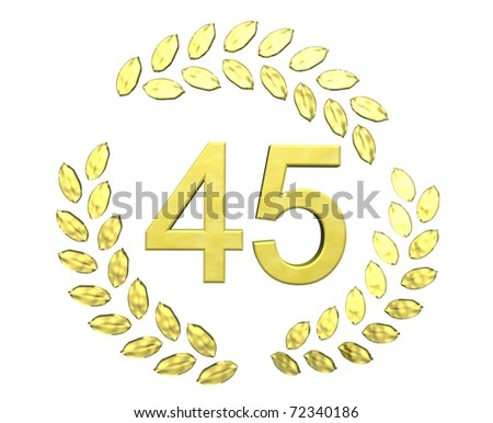 number 45 with laurel wreath - stock photo