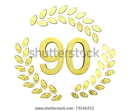 number 90 with laurel wreath - stock photo