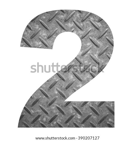 Number 2 with metal photo background isolated on white background - stock photo