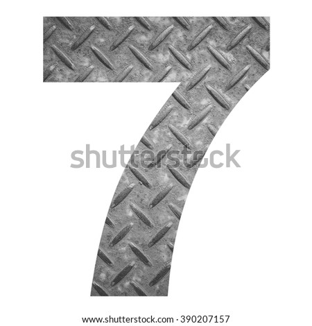 Number 7 with metal photo background isolated on white background - stock photo