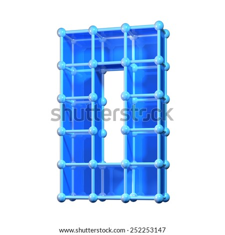 Number zero, 0. 3D molecular structure. Numerals isolated on white background. - stock photo