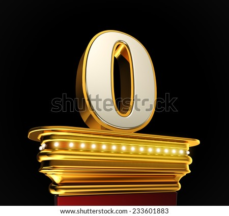 Number Zero on a golden platform with brilliant lights over black background - stock photo