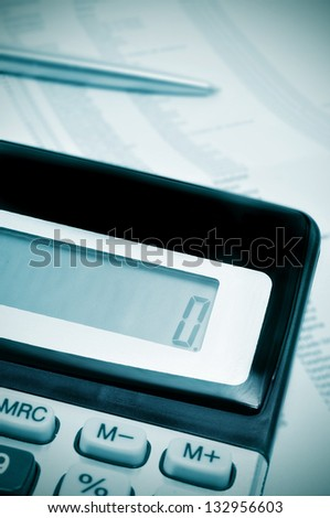 number zero, on the display of a calculator, symbolizing naught, ruin, bankruptcy - stock photo