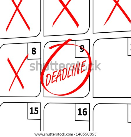 Numbered Calendar with Deadline - stock photo
