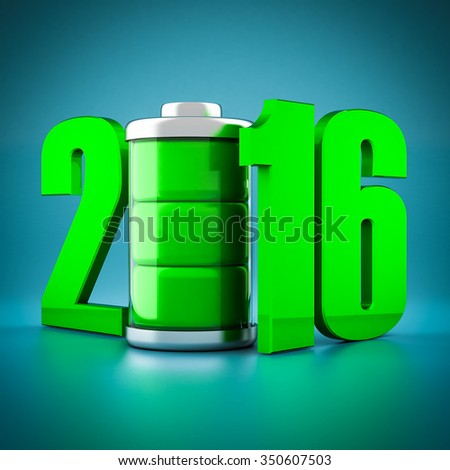 Numbers 2016 and battery on a blue background - stock photo