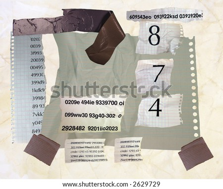 numbers and data code made from paper, torn shredded and bits of tape - stock photo