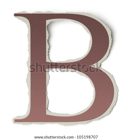 Numbers and letters collection, vintage alphabet based on newspaper cutouts. Letter B on torn paper, 3d render - stock photo