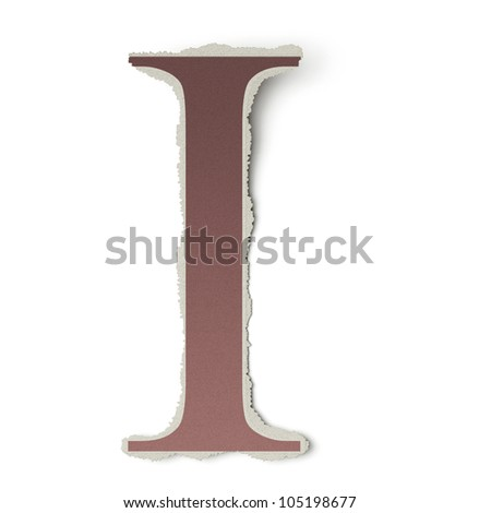 Numbers and letters collection, vintage alphabet based on newspaper cutouts. Letter I on torn paper, 3d render - stock photo