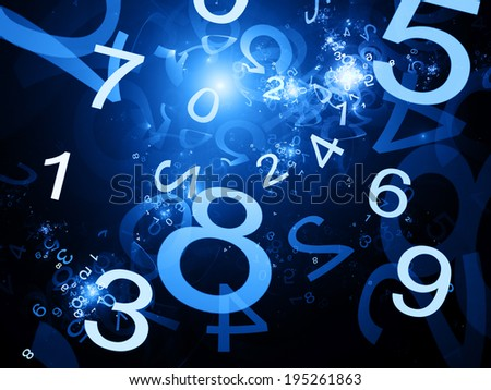 Numbers blue abstract background in space - stock photo