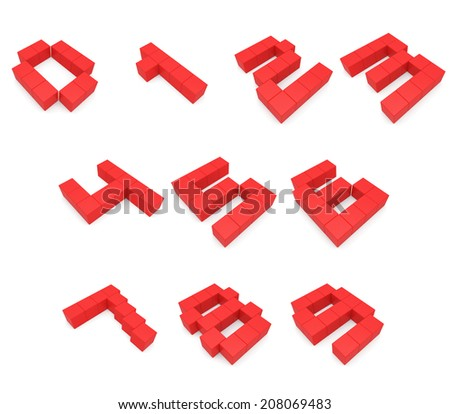 numbers 3d cubic red - stock photo