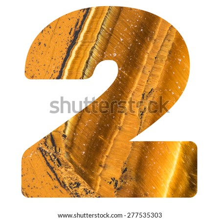 Numbers from mineral tiger eye isolated on white background, number - 2. - stock photo