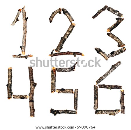 Numbers from the dry branches of birch are isolated on a white background - stock photo