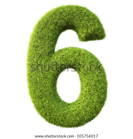 numbers from the green grass. isolated on white. - stock photo