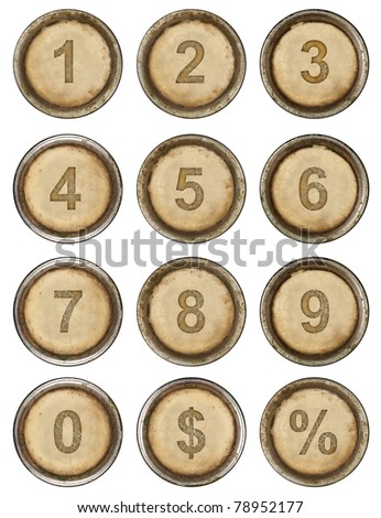 Numbers, grunge typewriter keys in white background - stock photo