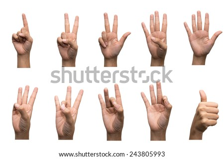 Numbers 1-10 in sign language - stock photo