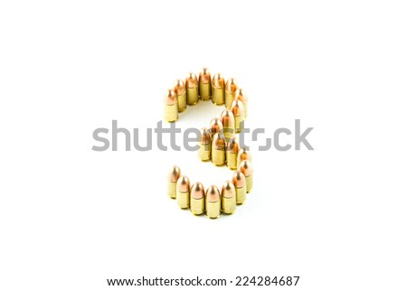 Numbers made of cartridges isolated on white background  - stock photo