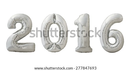 Numbers 2016 made of inflatable metallic silver air balloons isolated on white background. Christmas balloons. - stock photo
