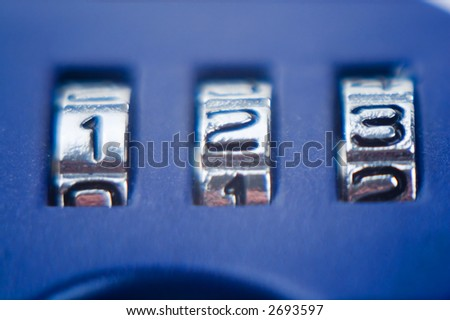 Numbers 1 2 3 on the blue combination lock - stock photo