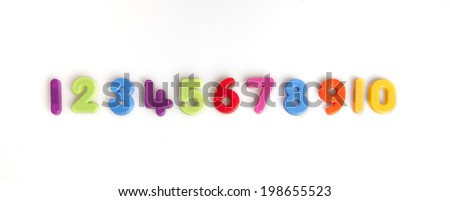 numbers one to ten in plastic - stock photo