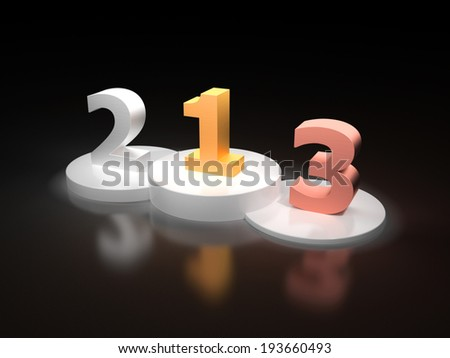 Numbers one two and three made out of gold silver and bronze on a white victory podium on dark background - stock photo