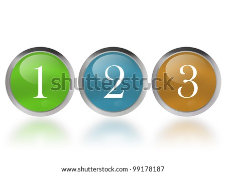 numbers one two three - stock photo