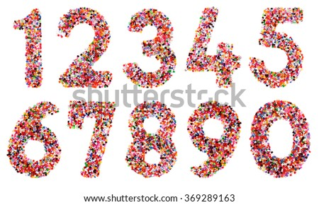 Numbers 1, 2, 3, 4, 5, 6, 7, 8, 9 performed by plastic colorful particles  isolated on a white background. Collage of  my downscaled pictures. - stock photo