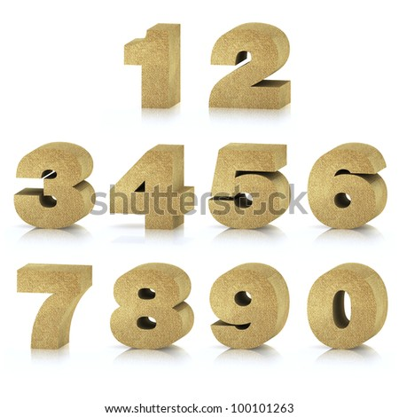 Numbers 0 to 9 made of recycled cardboard, High-resolution 3d rendering - stock photo