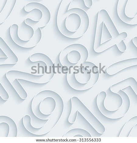 Numbers. White paper with outline extrude effect. Abstract 3d seamless background. - stock photo