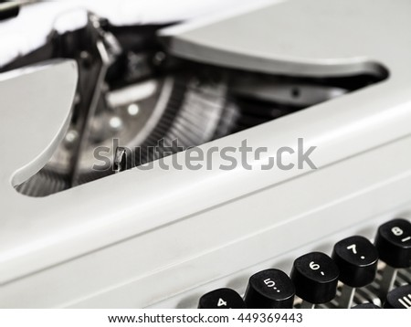 numeric character keys of old typewriter close up - stock photo