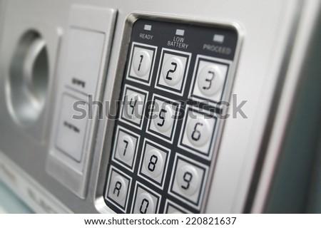 numeric keypad on the safe - stock photo