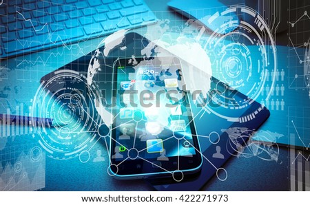 Numerous charts, screens and graphics over mobile phone in office '3D rendering' - stock photo