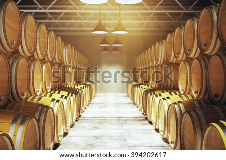 Numerous wooden barrels in winery. 3D Render - stock photo