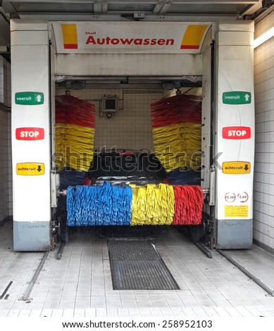 NUNSPEET, THE NETHERLANDS, 7 MARCH 2015 - Car being washed in a Dutch Carwash box from Shell. - stock photo