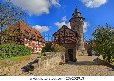 Nuremberg Castle (Sinwell tower) with blue sky and clouds, Germany  - stock photo