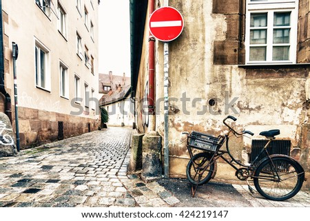 NUREMBERG, GERMANY - 5 MARCH 2016: View on cobbled abandoned sidewalk in Nuremberg, Germany - stock photo
