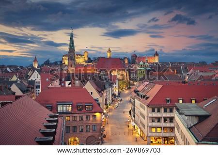 Nuremberg. Image of historic downtown of Nuremberg, Germany at sunset. - stock photo