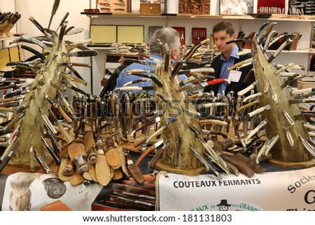 NURNBERG, GERMANY - MARCH 9:  Thiers-Issard knives stand at IWA 2014 & Outdoor Classics exhibition on March 9, 2014 in Nurnberg, Germany - stock photo