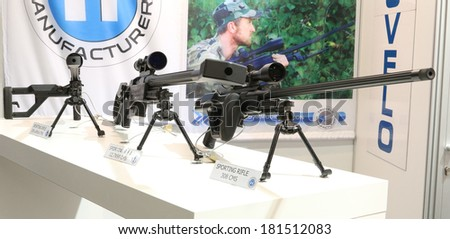 NURNBERG, GERMANY - MARCH 9: Truvelo sporting rifles on display at IWA 2014 & Outdoor Classics exhibition on March 9, 2014 in Nurnberg, Germany - stock photo