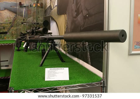 NURNBERG - MARCH 11: RPA Rangemaster 50 sniper rifle on display at IWA 2012 & OutdoorClassics exhibition on March 11, 2012 in Nurnberg, Germany - stock photo