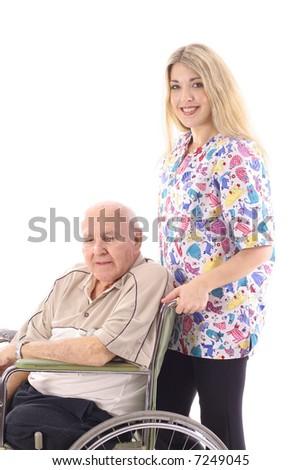 nurse helping elderly patient - stock photo